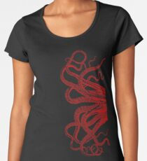Red Vintage Octopus  Tentacles Illustration Women's Premium T-Shirt