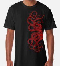 Red Vintage Octopus  Tentacles Illustration Long T-Shirt