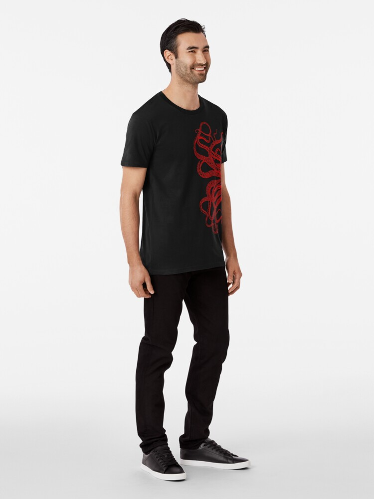 Alternate view of Red Vintage Octopus  Tentacles Illustration Premium T-Shirt