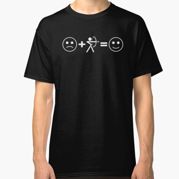 Sad Face + Bow Hunting / Archery = Happy Face. Makes me Happy Classic T-Shirt
