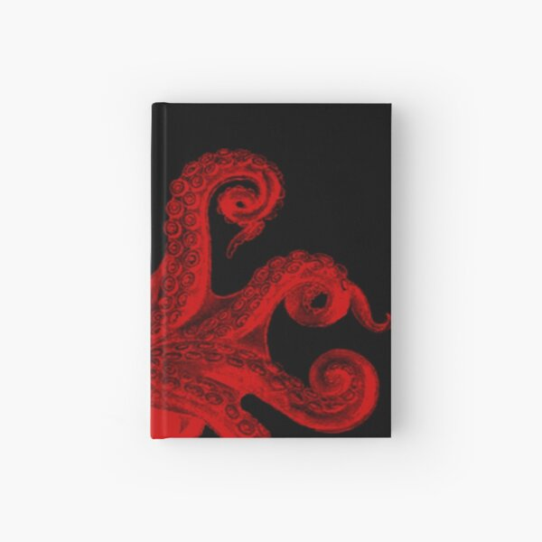 Red Vintage Octopus Tentacles Illustration Hardcover Journal