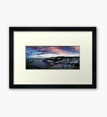 Porthleven  Harbour and clock tower Sunset Cornwall Framed Print