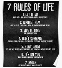 7 Rules of Life Motivational Poster - Perfect Print For Bedroom or Home Office Poster
