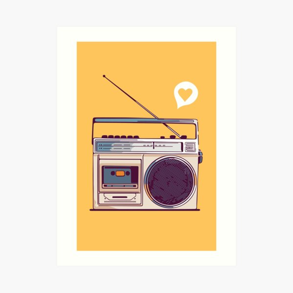 Retro Radio Boombox Art Print