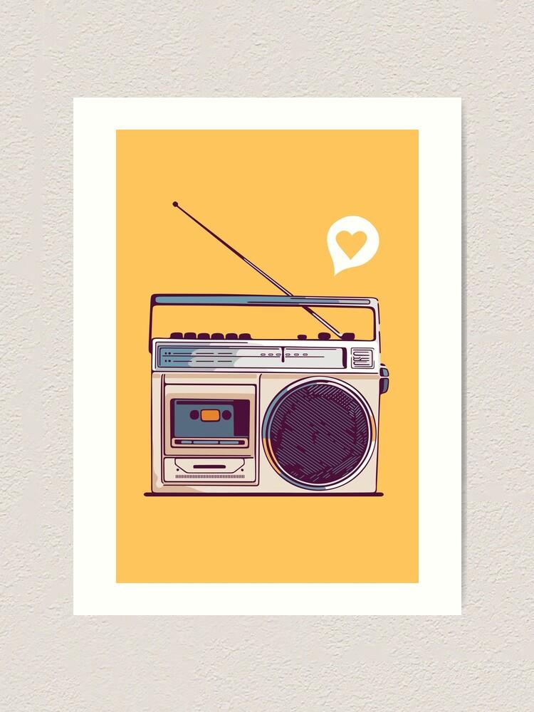 Alternate view of Retro Radio Boombox Art Print