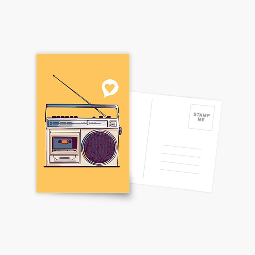 Retro Radio Boombox Postcard