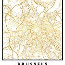 BRUSSELS BELGIUM CITY STREET MAP ART by deificusArt