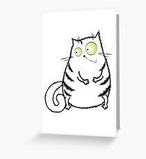 cute crazy white cat Greeting Card