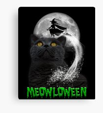 Meowloween Black Cat & Witch Canvas Print
