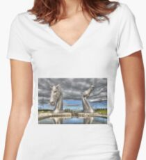 the Kelpies , Helix Park , Grangemouth  654 Women's Fitted V-Neck T-Shirt