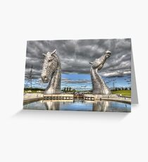 the Kelpies , Helix Park , Grangemouth  654 Greeting Card