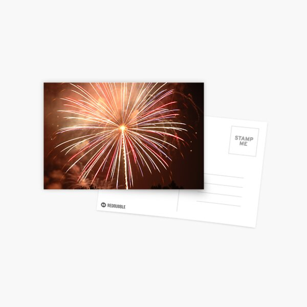 Red Fireworks Postcard