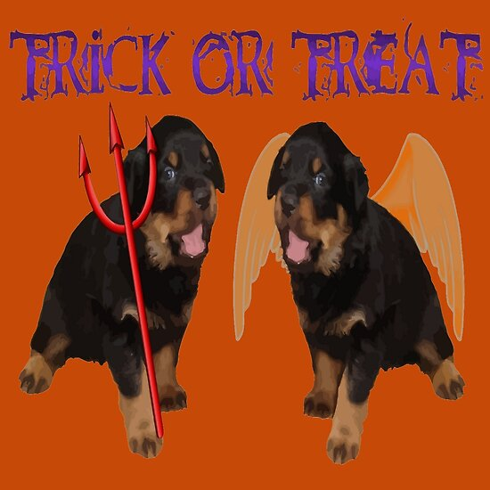 Cute Rottweiler Halloween Trick or Treat Vector by taiche