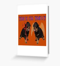 Cute Rottweiler Halloween Trick or Treat Vector Greeting Card