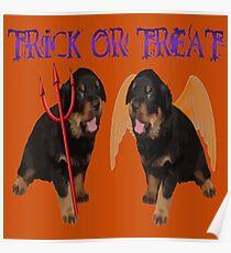 Cute Rottweiler Halloween Trick or Treat Vector Poster