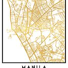 MANILA PHILIPPINES CITY STREET MAP ART by deificusArt