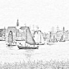 Antwerp - Sailboats -  sketch by Gilberte