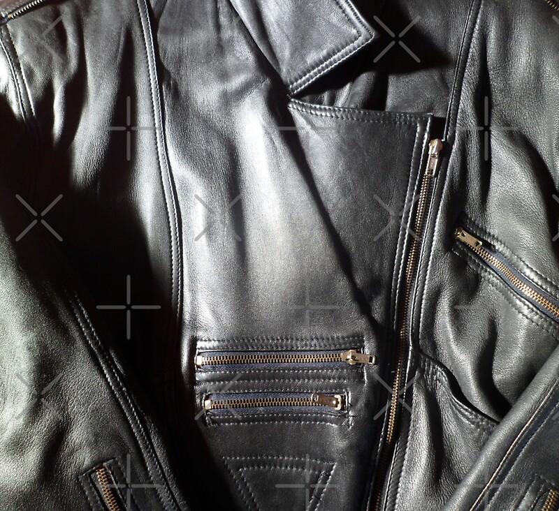 Sexy Black Leather Biking Jacket With Gold Zips