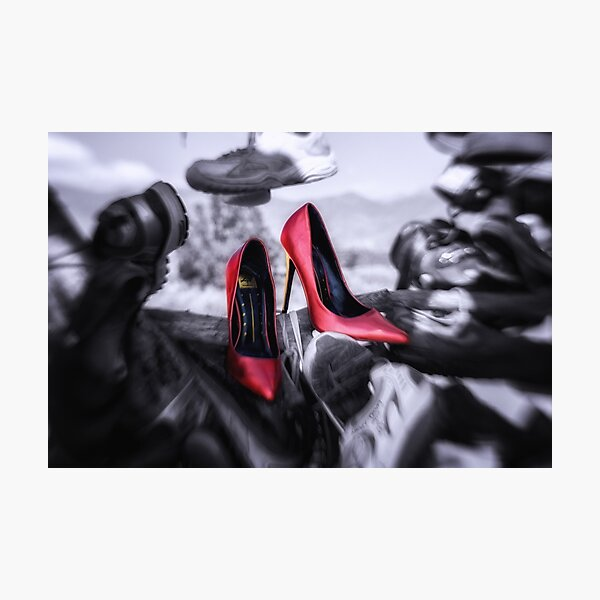 Hanging With Friends red high heels shoes in the shoe tree Photographic Print