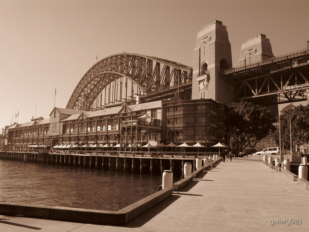bridge and buildings - sepia by gallery921