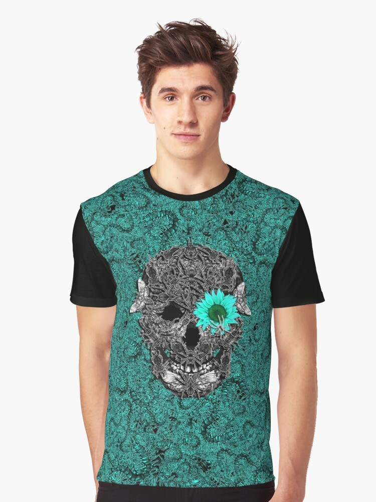 Skull Insect Graphic T-Shirt Front