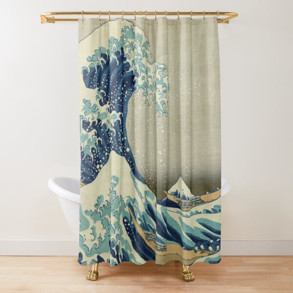 The Classic Japanese Great Wave off Kanagawa by Hokusai Shower Curtain