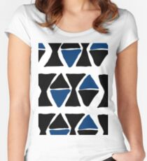blue and black triangles Women's Fitted Scoop T-Shirt