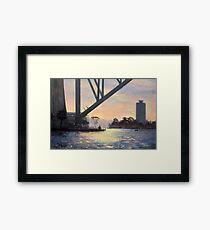 Under the Bridge, Sydney Harbour Painting Framed Print