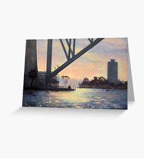Under the Bridge, Sydney Harbour Painting Greeting Card