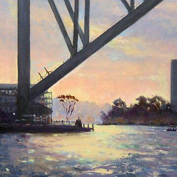 Under the Bridge, Sydney Harbour Painting by marshstudio