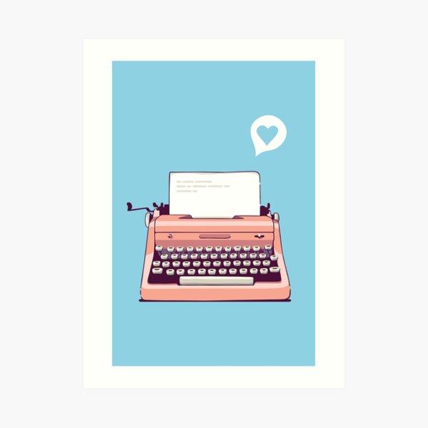 Pink Retro Typewriter Art Print