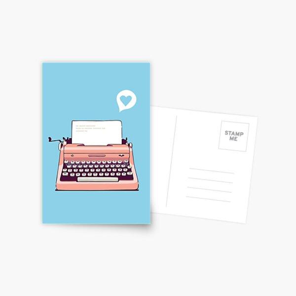 Pink Retro Typewriter Postcard