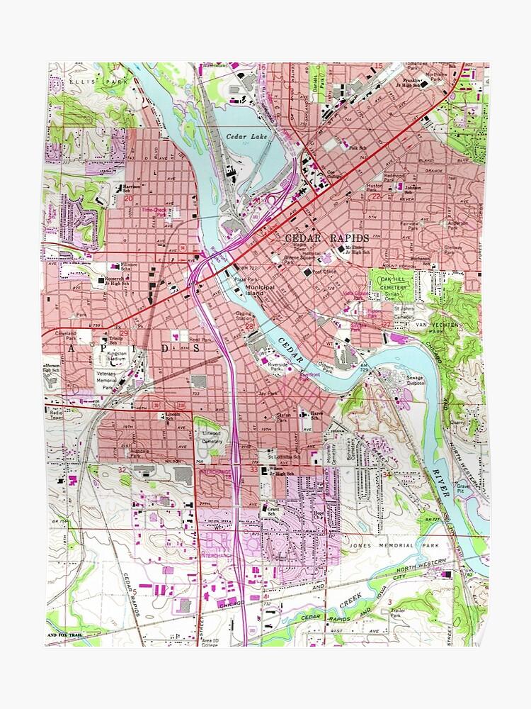 Vintage Map of Cedar Rapids Iowa (1967)