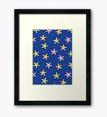 Dancing Starfish // Dark Blue  Framed Print