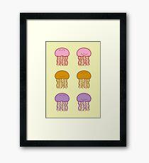 Happy Jellyfish // Yellow  Framed Print
