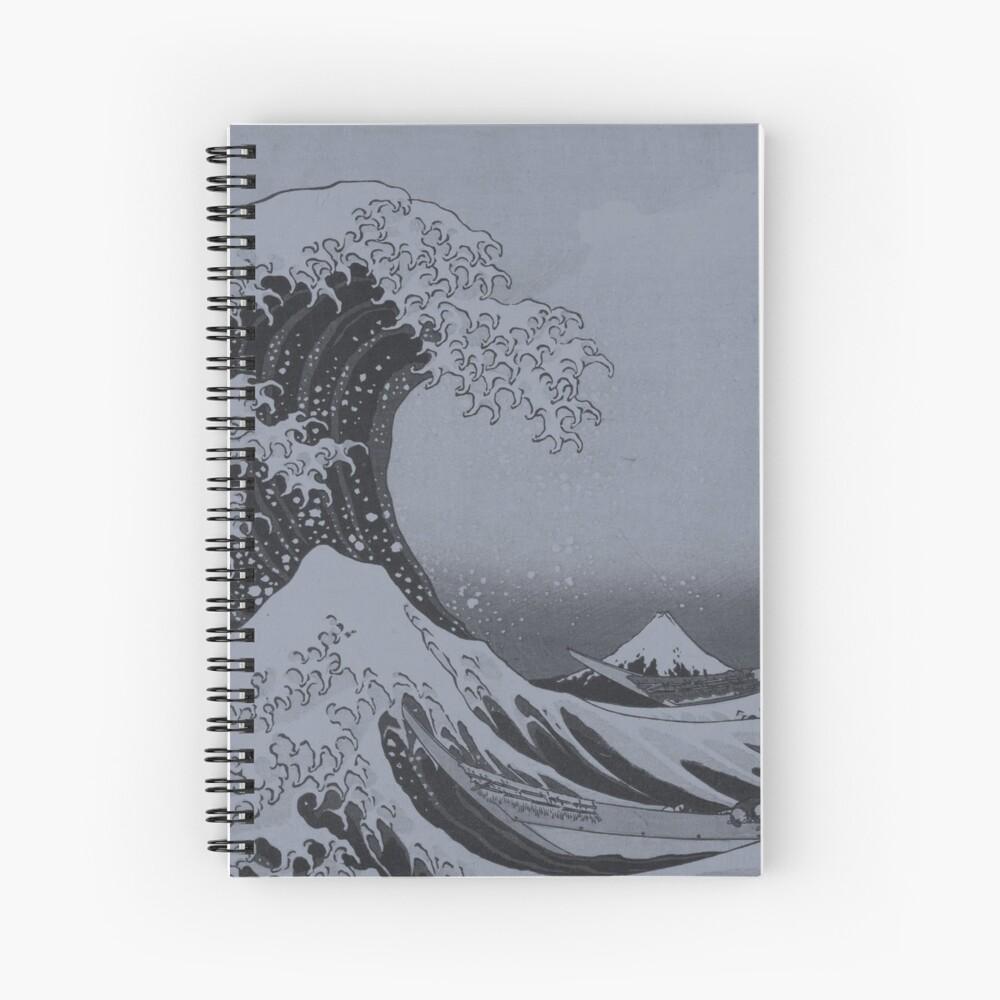 Silver Japanese Great Wave off Kanagawa by Hokusai Spiral Notebook