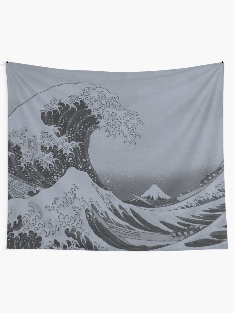 Alternate view of Silver Japanese Great Wave off Kanagawa by Hokusai Tapestry