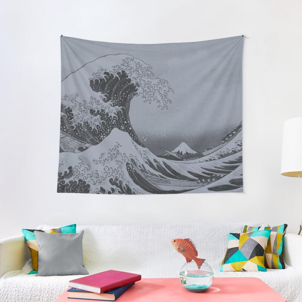Silver Japanese Great Wave off Kanagawa by Hokusai Tapestry