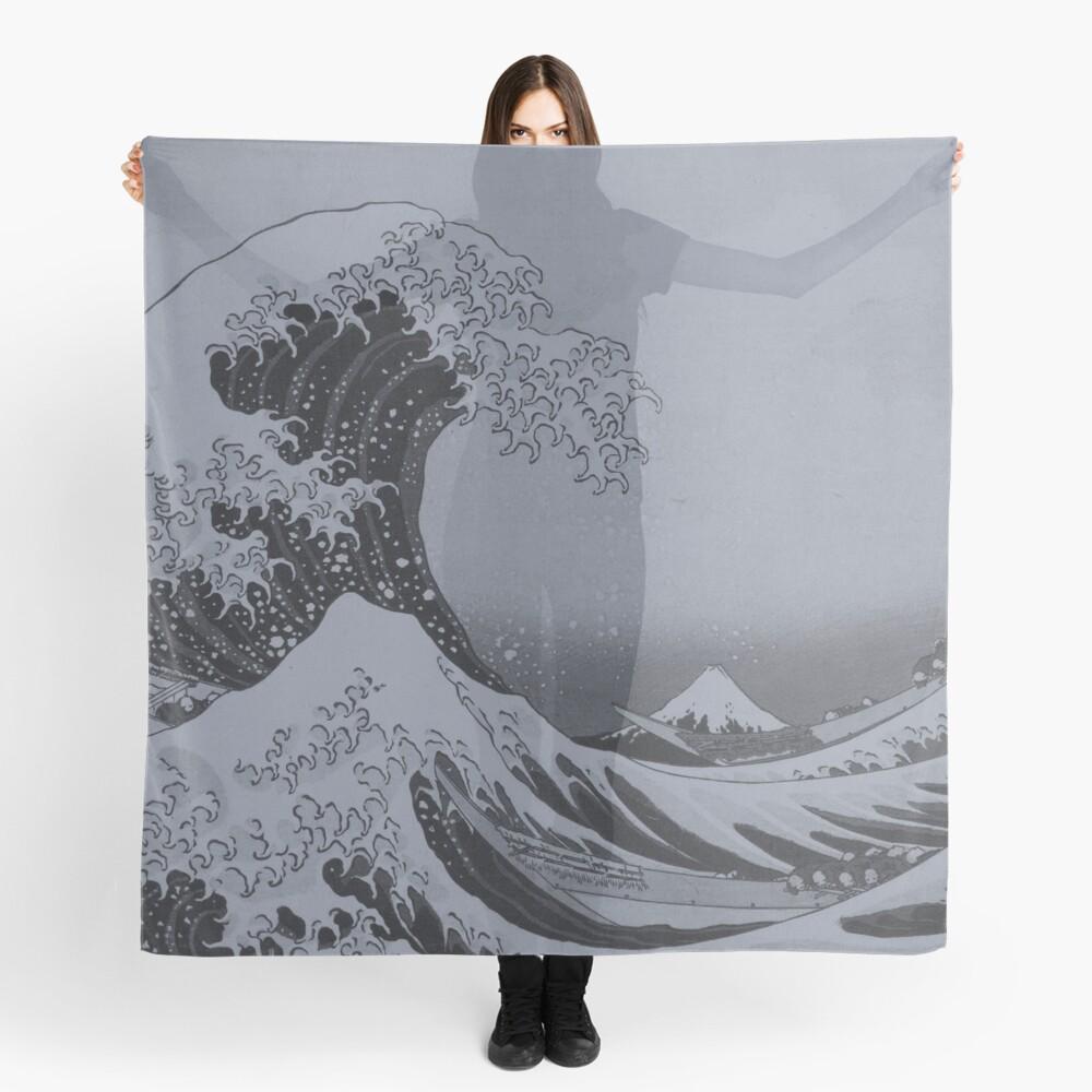 Silver Japanese Great Wave off Kanagawa by Hokusai Scarf