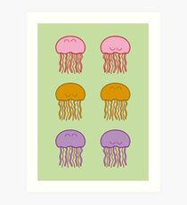 Happy Jellyfish // Green  Art Print