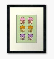 Happy Jellyfish // Green  Framed Print