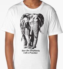 Save the Elephants, Cull a Poacher message Long T-Shirt
