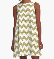 Gold Glitter Chevron Pattern Background A-Line Dress