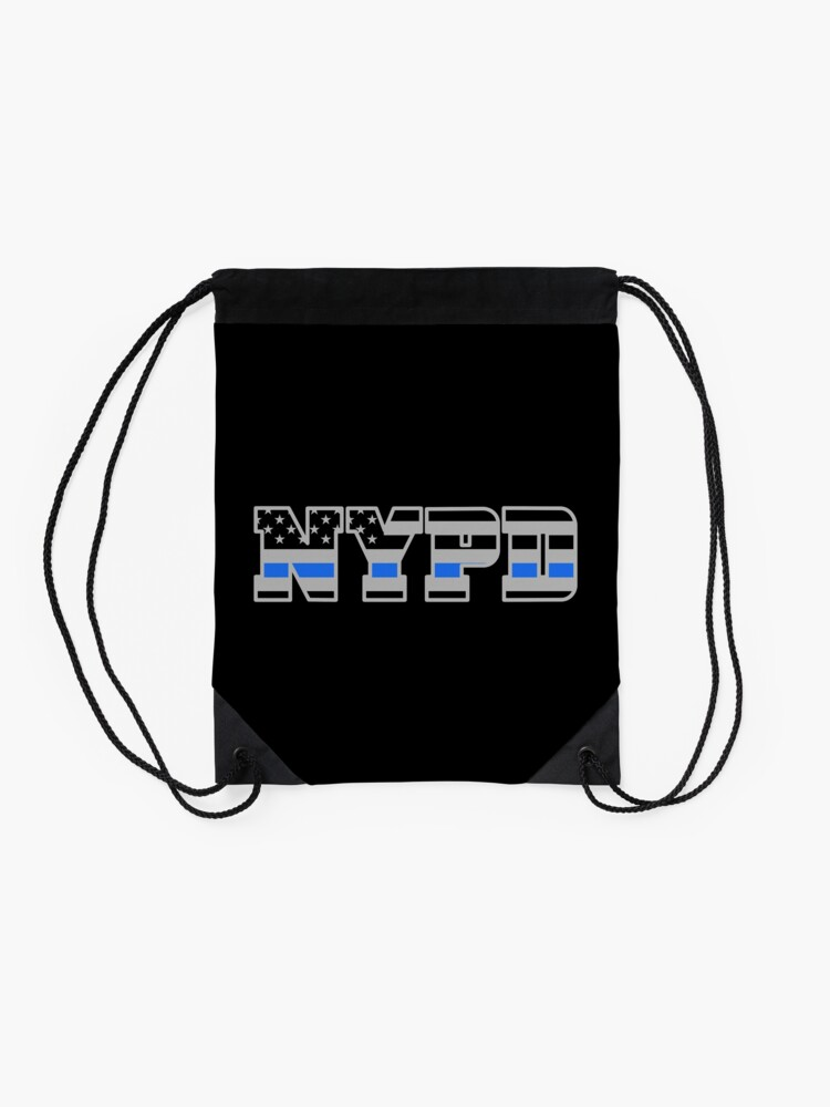 Alternate view of NYPD Thin Blue Line - American Police Flag Drawstring Bag