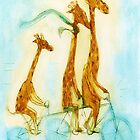 Family of giraffes rides a bicycle-tandem by ulyanaandreeva