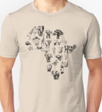 African Animals in Shape of Africa T-Shirt