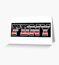 FDNY Thin Red Line - American Fire Fighter Flag Greeting Card