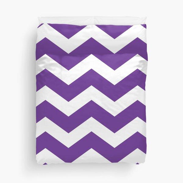 Purple And White Chevron Duvet Cover