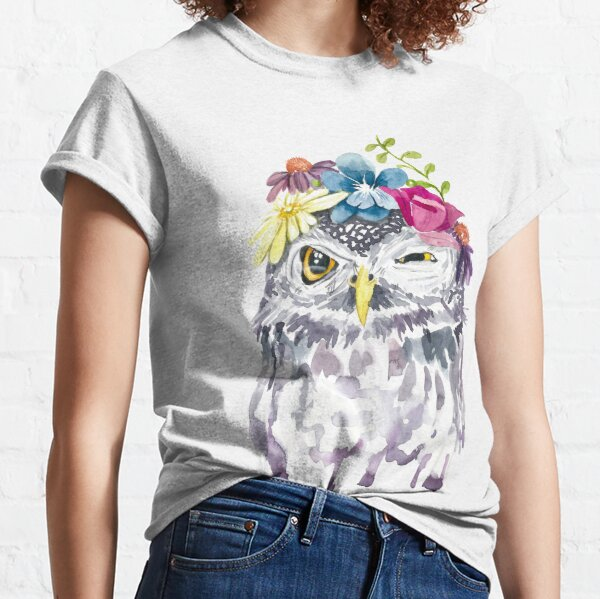 Watercolor Floral Owl Classic T-Shirt