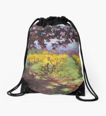 Fall Vineyard Painting Drawstring Bag